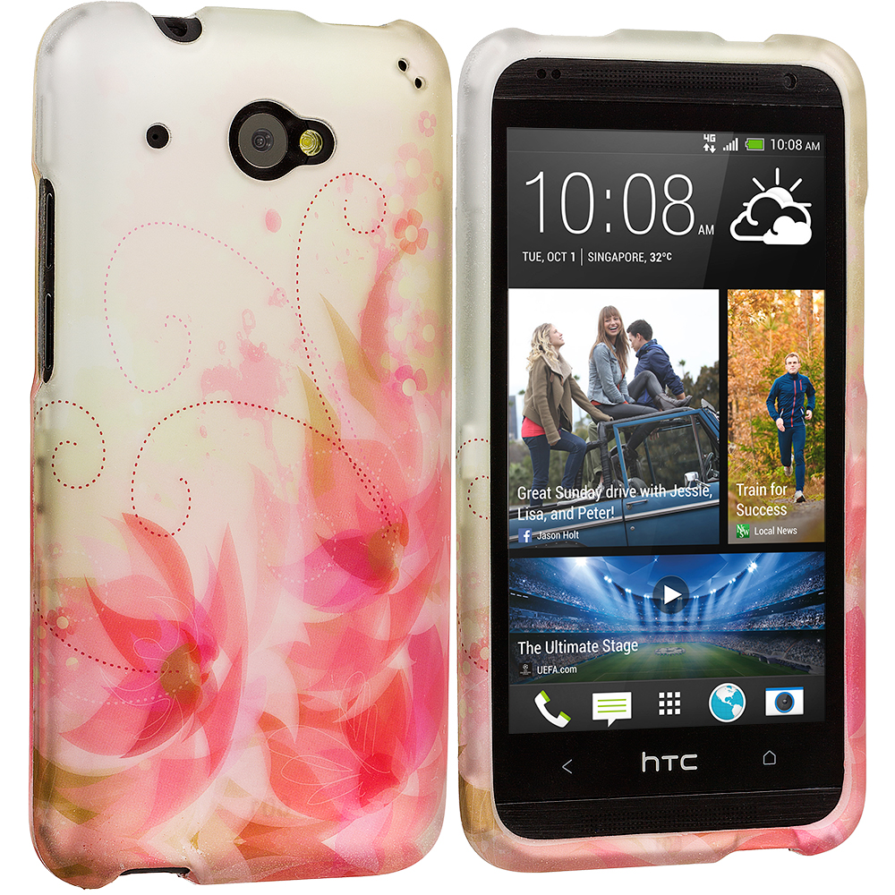 HTC Desire 601 Flower with Red Leaf 2D Hard Rubberized Design Case Cover