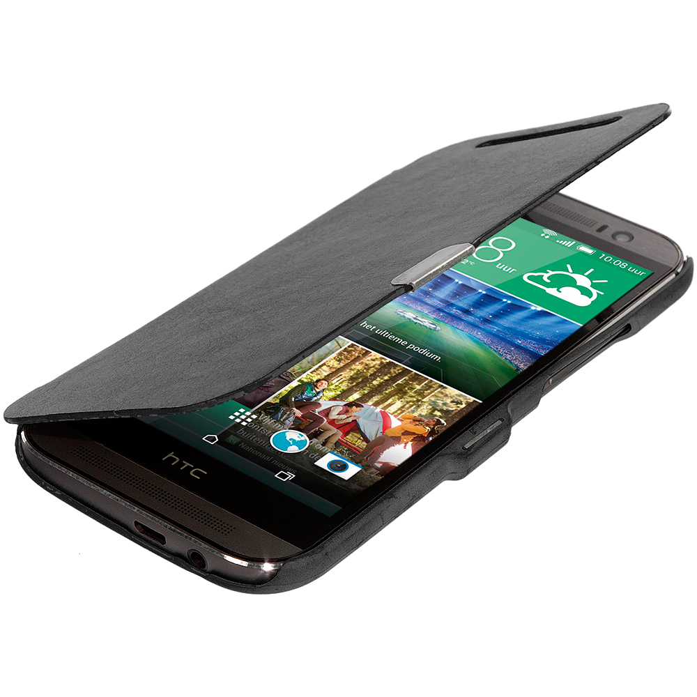 HTC One M8 Black Magnetic Wallet Case Cover Pouch