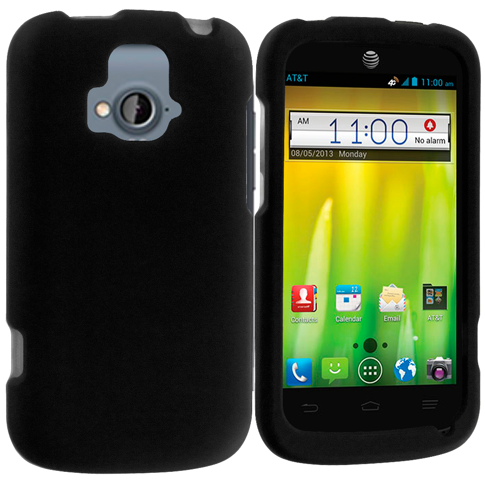 ZTE Radiant Black Hard Rubberized Case Cover