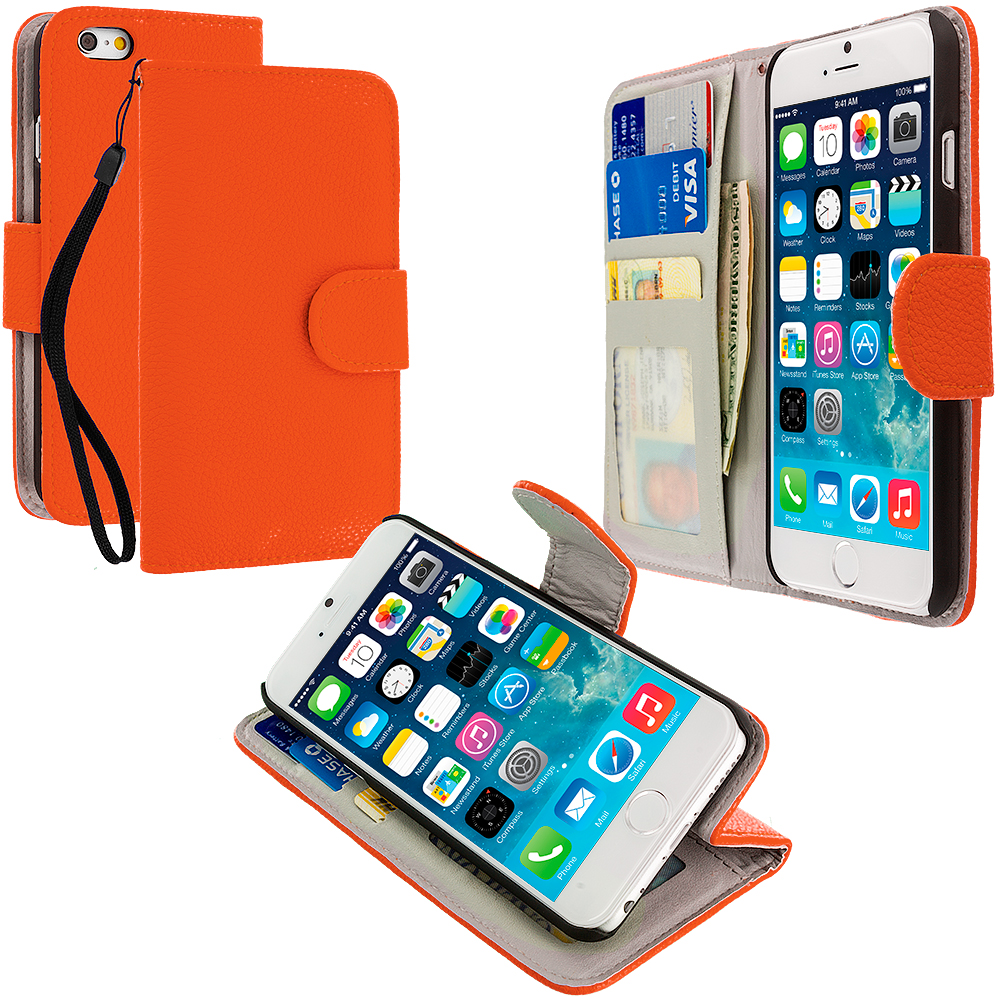 Apple iPhone 6 6S (4.7) Orange Leather Wallet Pouch Case Cover with Slots