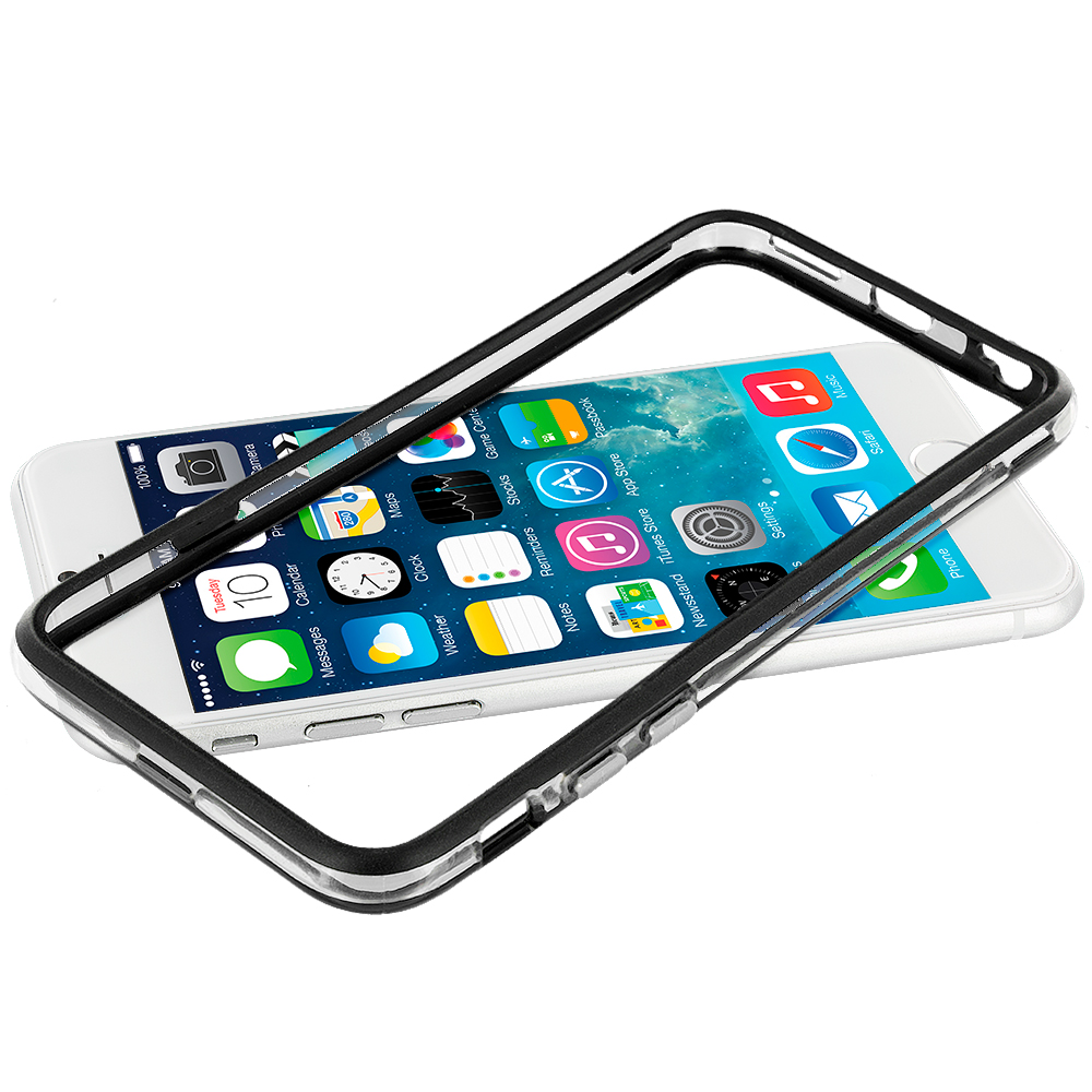 Apple iPhone 6 Plus 6S Plus (5.5) Black / Clear TPU Bumper Frame with Metal Buttons