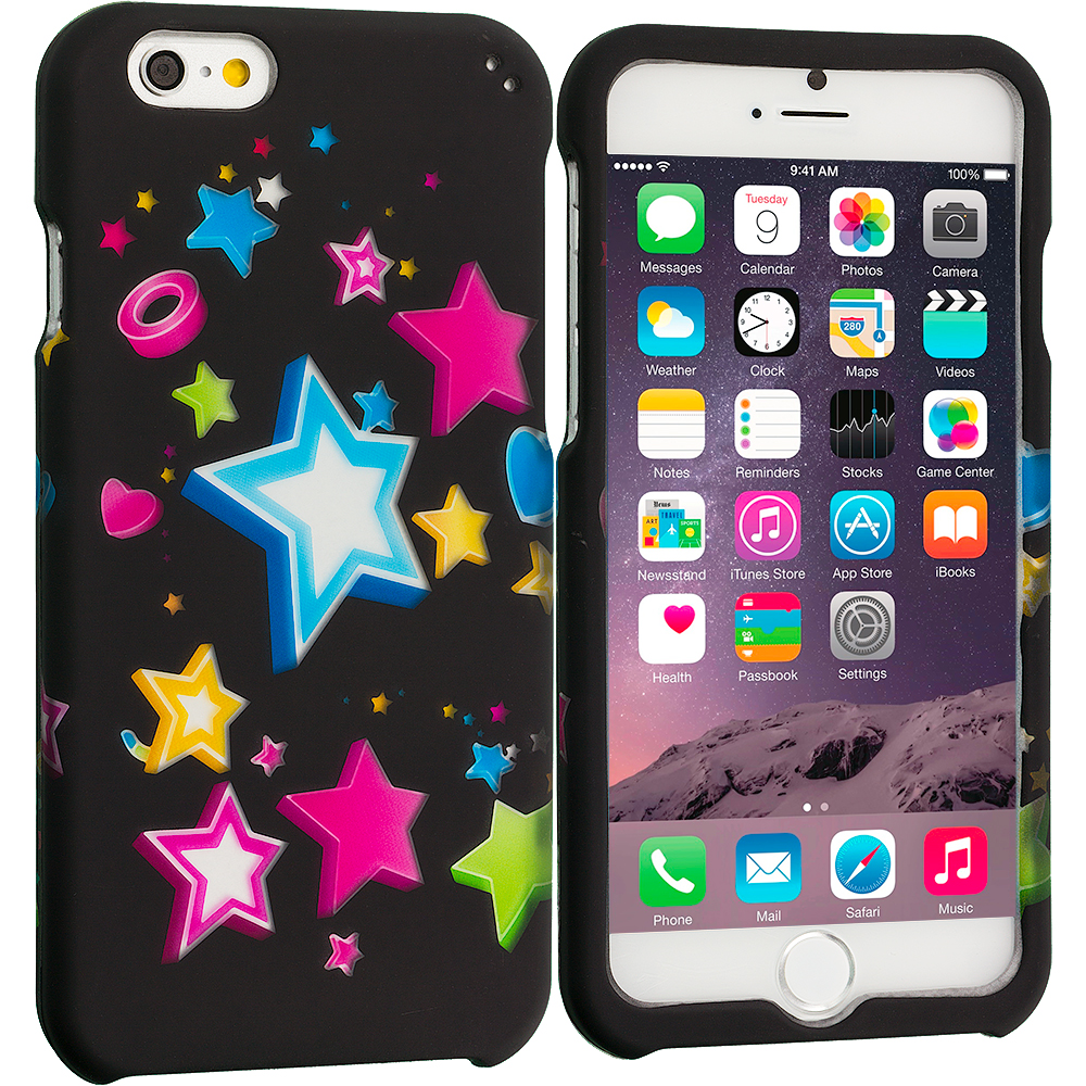 Apple iPhone 6 6S (4.7) Colorful Shooting Star 2D Hard Rubberized Design Case Cover