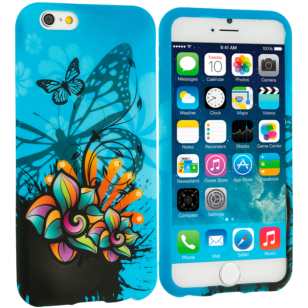 Apple iPhone 6 Plus 6S Plus (5.5) Butterfly Flower on Blue TPU Design Soft Rubber Case Cover