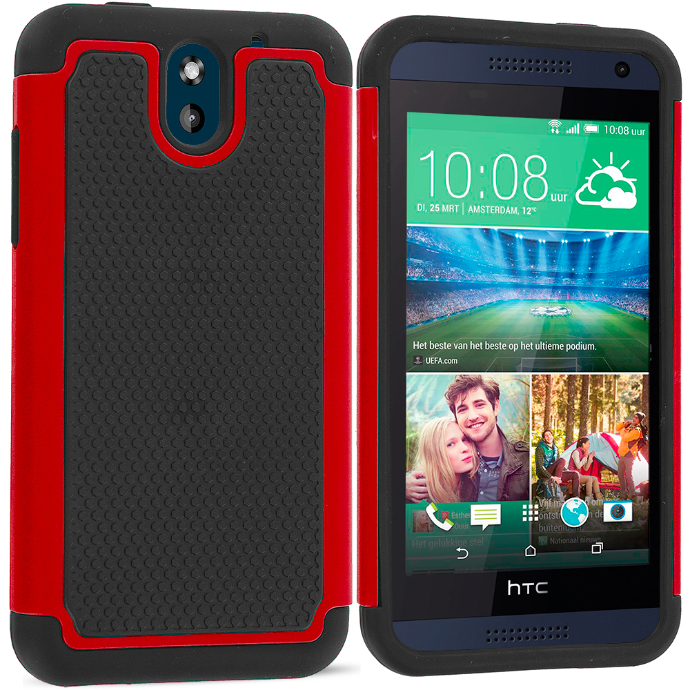 HTC Desire 610 Black / Red Hybrid Rugged Grip Shockproof Case Cover