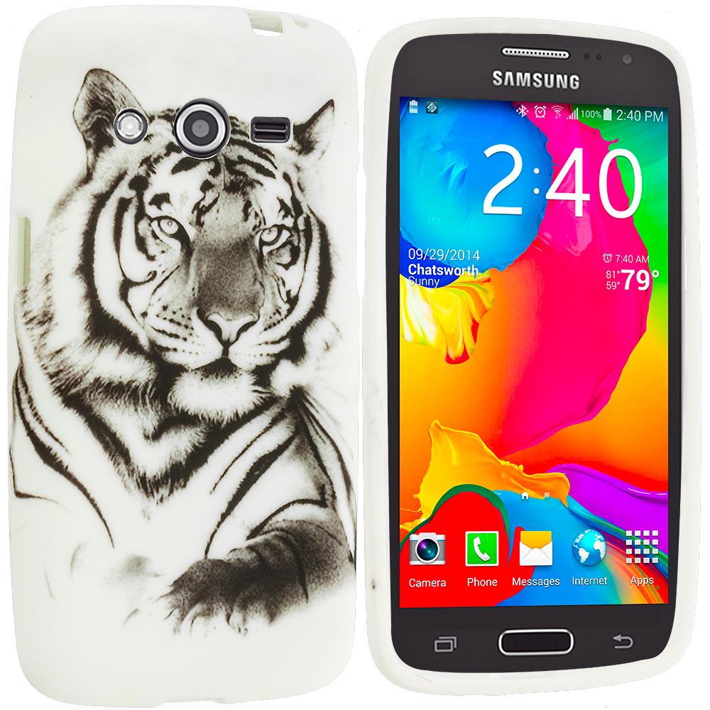 Samsung Galaxy Avant G386 White Tiger TPU Design Soft Rubber Case Cover