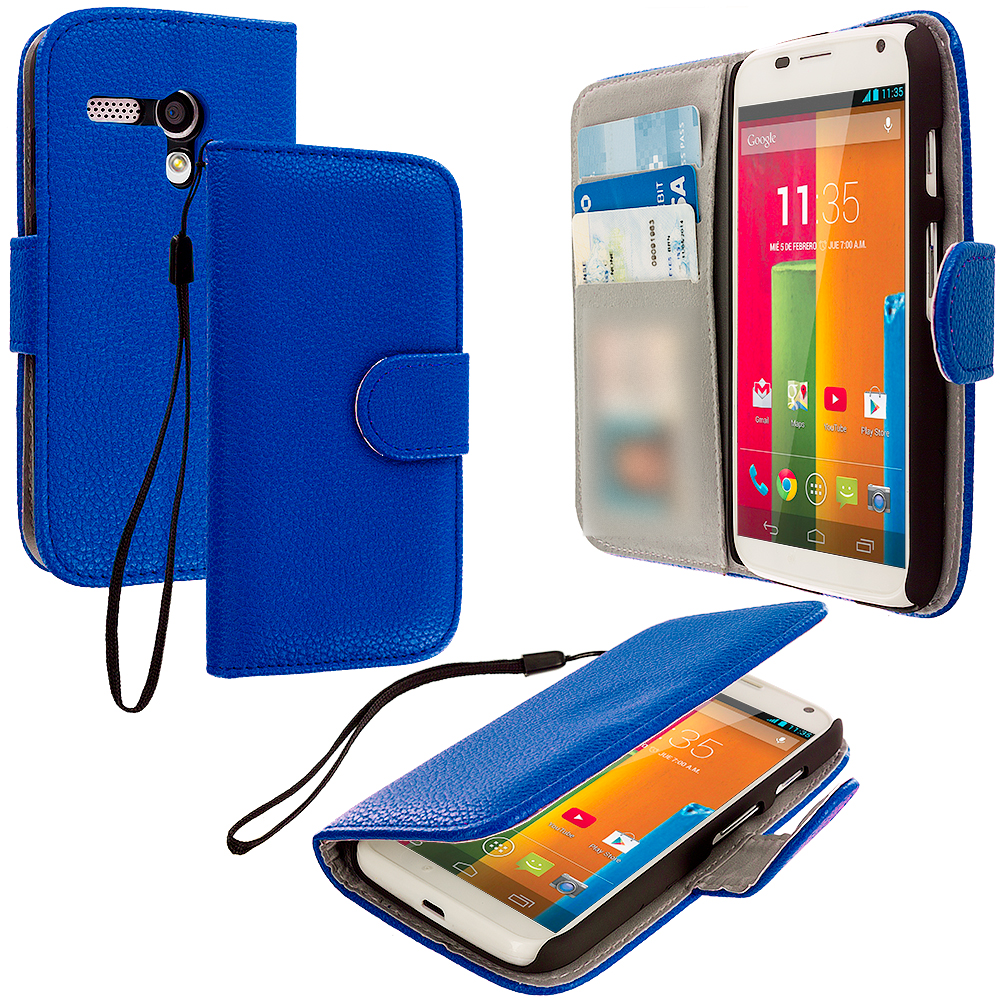 Motorola Moto G Blue Leather Wallet Pouch Case Cover with Slots