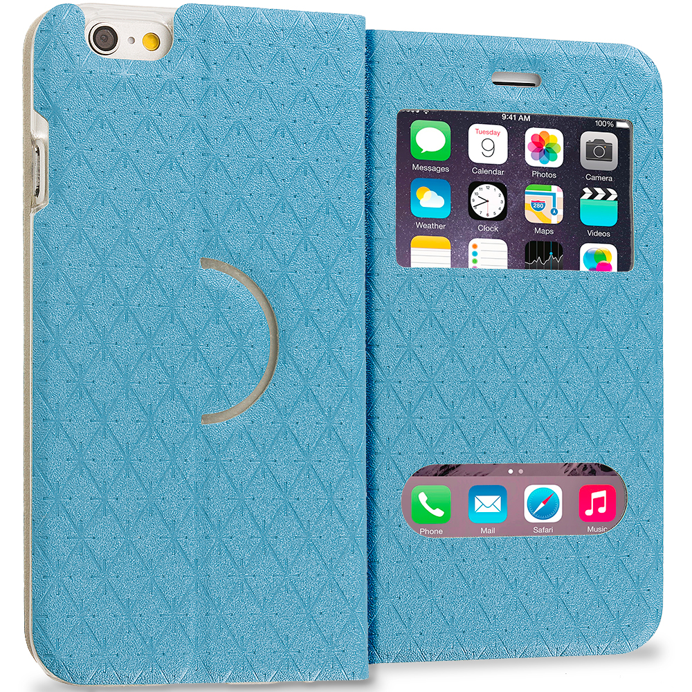 Apple iPhone 6 Plus 6S Plus (5.5) Baby Blue Slim Hard Wallet Flip Case Cover With Double Window
