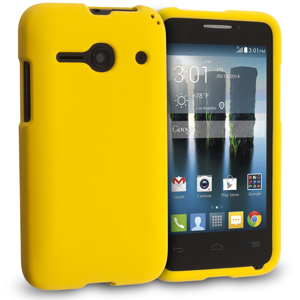 Alcatel One Touch Evolve 2 Yellow Hard Rubberized Case Cover