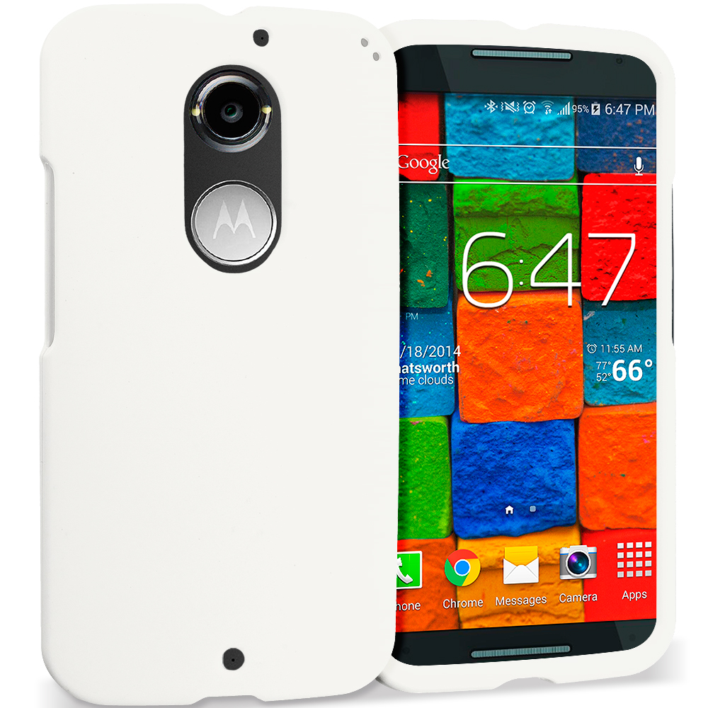 Motorola Moto X 2nd Gen White Hard Rubberized Case Cover