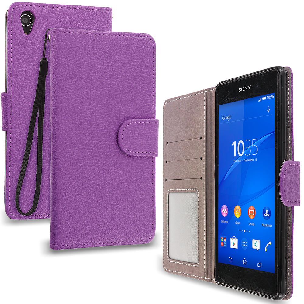 Sony Xperia Z3 Purple Leather Wallet Pouch Case Cover with Slots