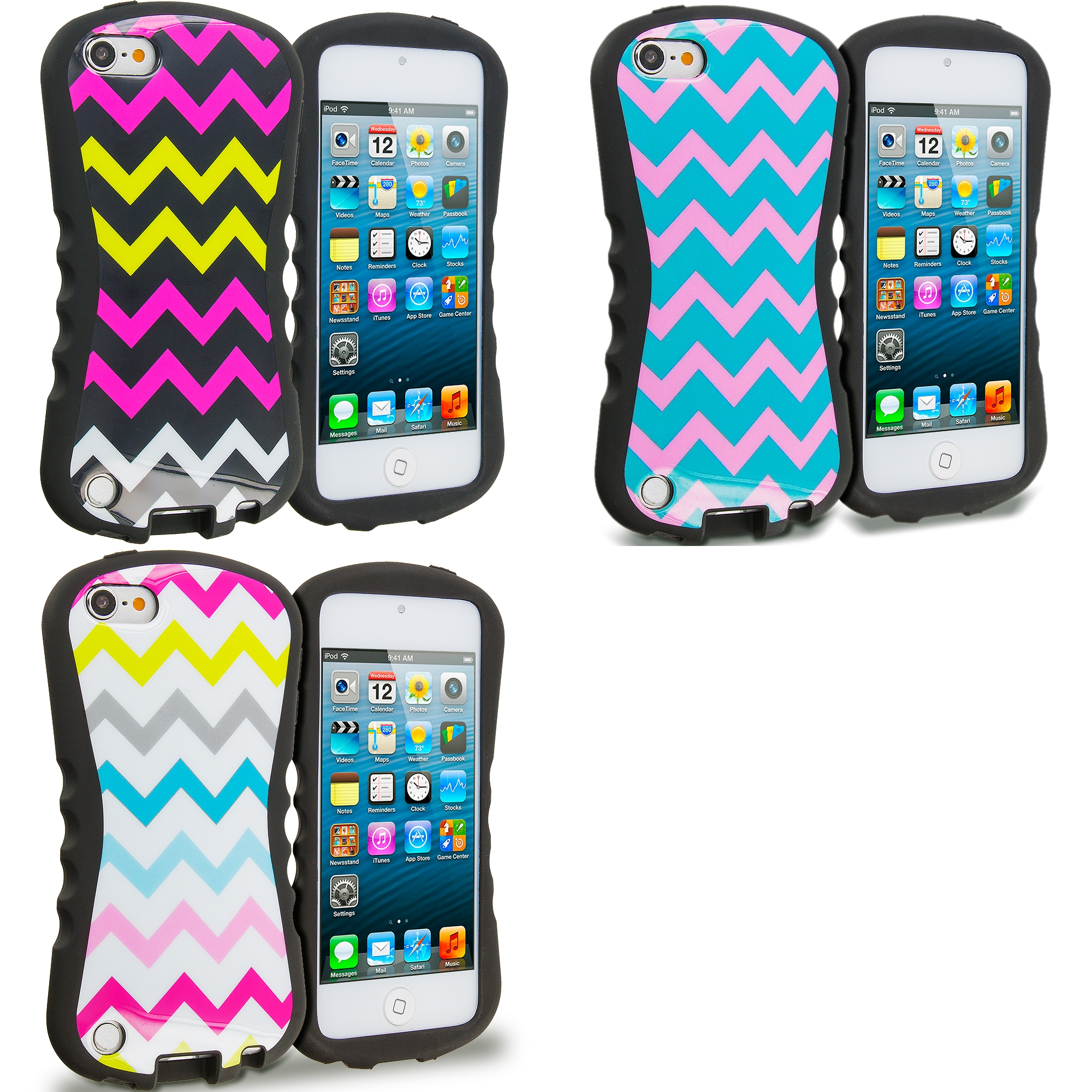 Apple iPod Touch 5th 6th Generation 3 in 1 Combo Bundle Pack - Wave Hybrid TPU Hard Soft Shockproof Drop Proof Case Cover