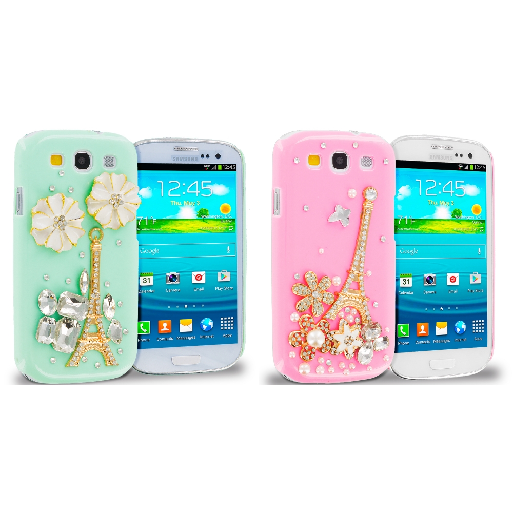Samsung Galaxy S3 2 in 1 Combo Bundle Pack - Mint Green Pink Eiffel Tower Crystal Hard Back Cover Case