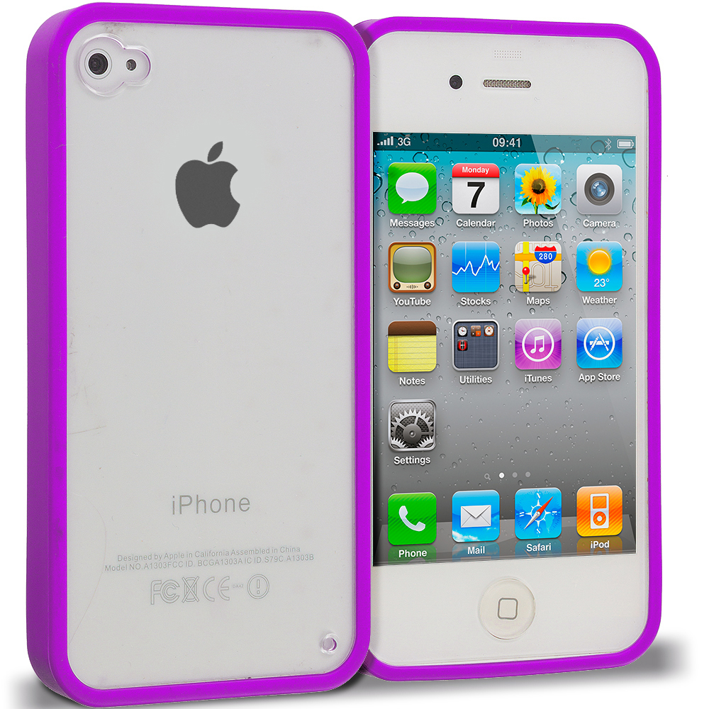 Apple iPhone 4 / 4S Purple TPU Plastic Hybrid Case Cover