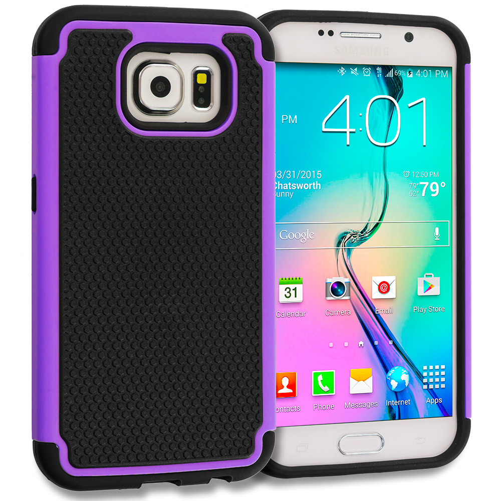 Samsung Galaxy S6 Combo Pack : Black / Hot Pink Hybrid Rugged Grip Shockproof Case Cover : Color Black / Purple