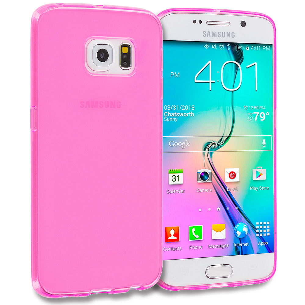 Samsung Galaxy S6 Edge Light Pink Plain TPU Rubber Skin Case Cover