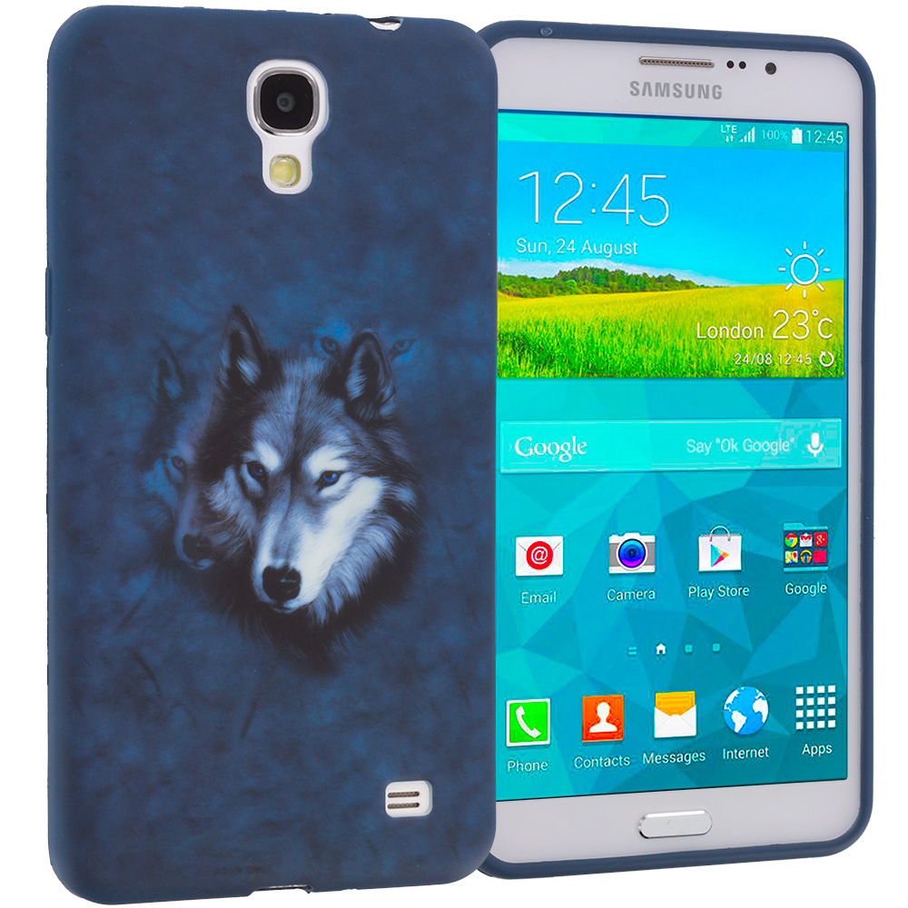 Samsung Galaxy Mega 2 Combo Pack : Purple Dolphin TPU Design Soft Rubber Case Cover : Color Wolf