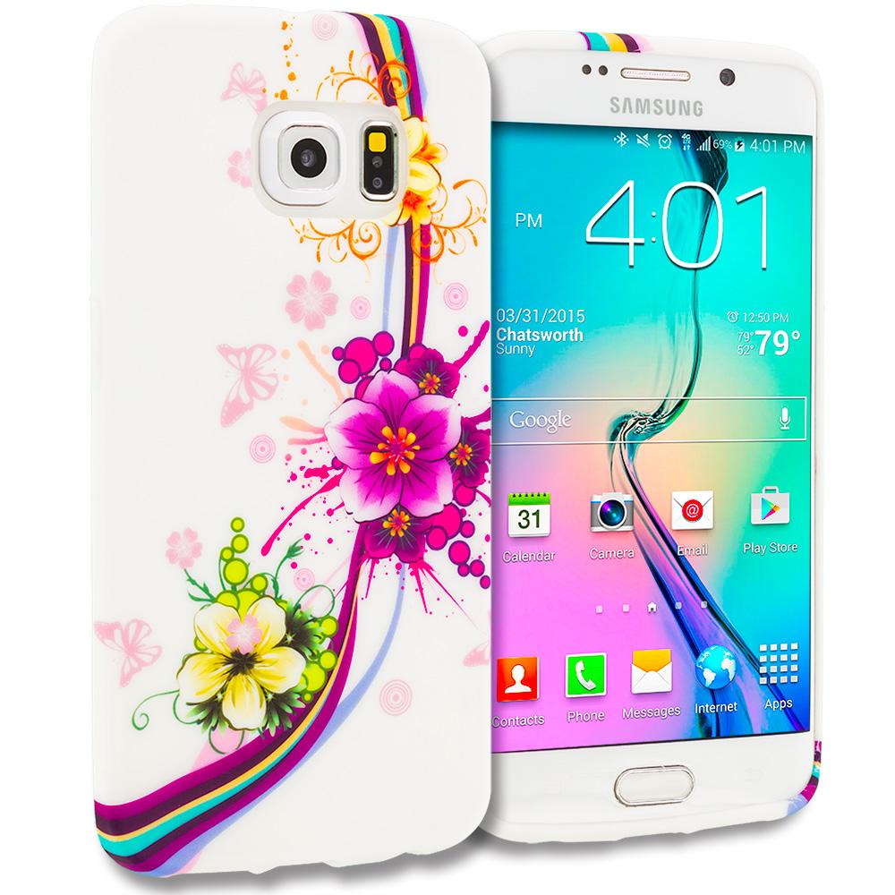 Samsung Galaxy S6 Edge Purple Flower Chain TPU Design Soft Rubber Case Cover