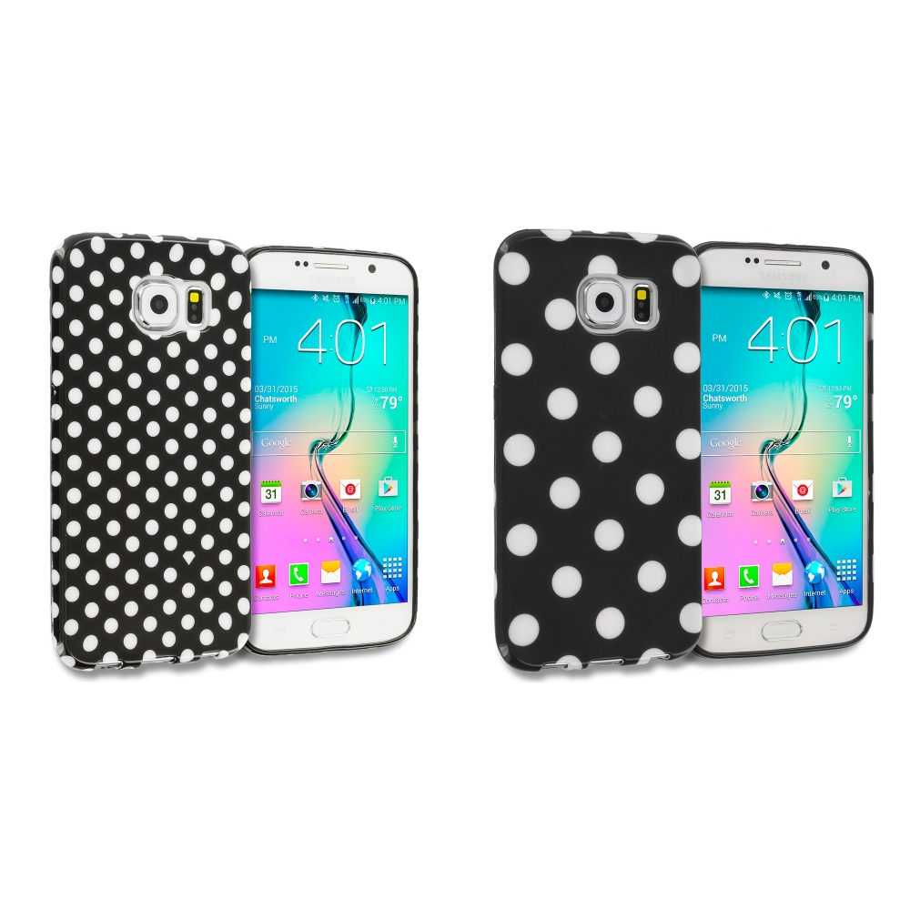 Samsung Galaxy S6 Combo Pack : Black / Mini White TPU Polka Dot Skin Case Cover