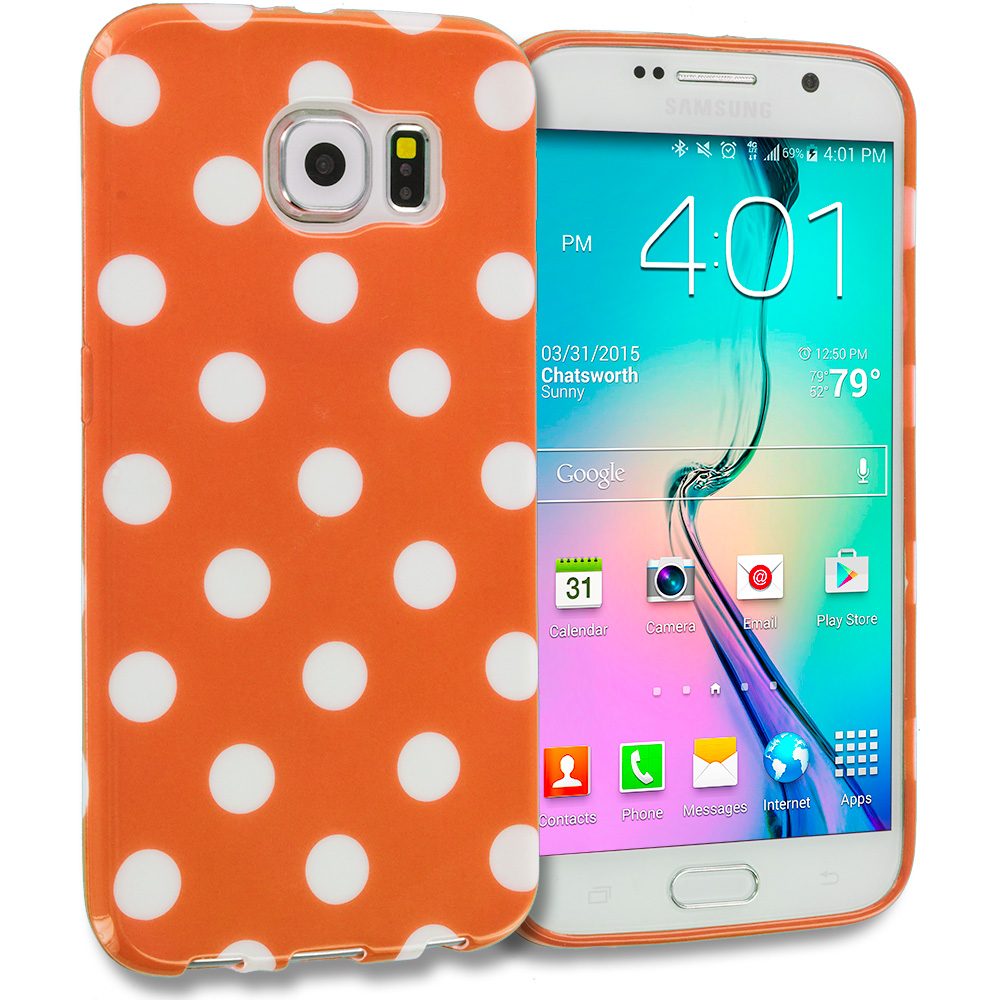 Samsung Galaxy S6 Edge Orange / White TPU Polka Dot Skin Case Cover