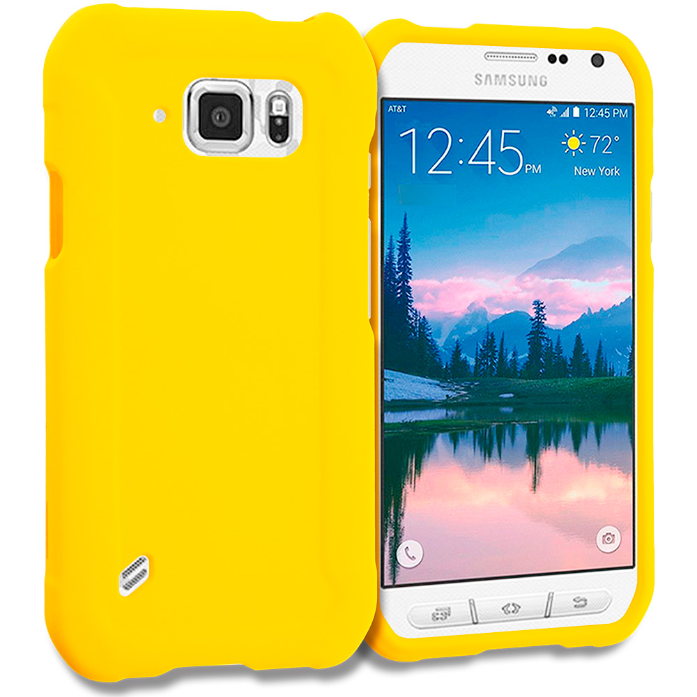 Samsung Galaxy S6 Active Yellow Hard Rubberized Case Cover