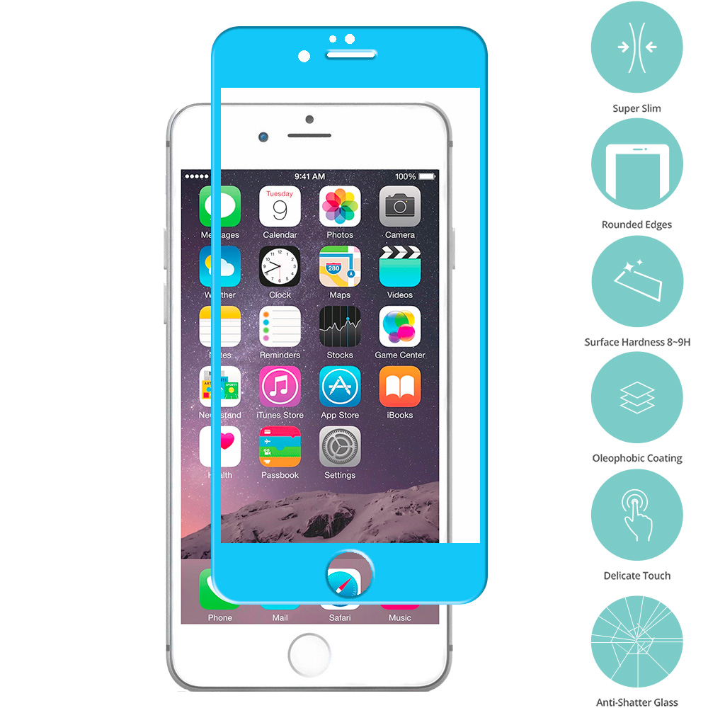 Apple iPhone 6 6S (4.7) 5 in 1 Combo Bundle Pack - Tempered Glass Film Screen Protector Colored : Color Baby Blue