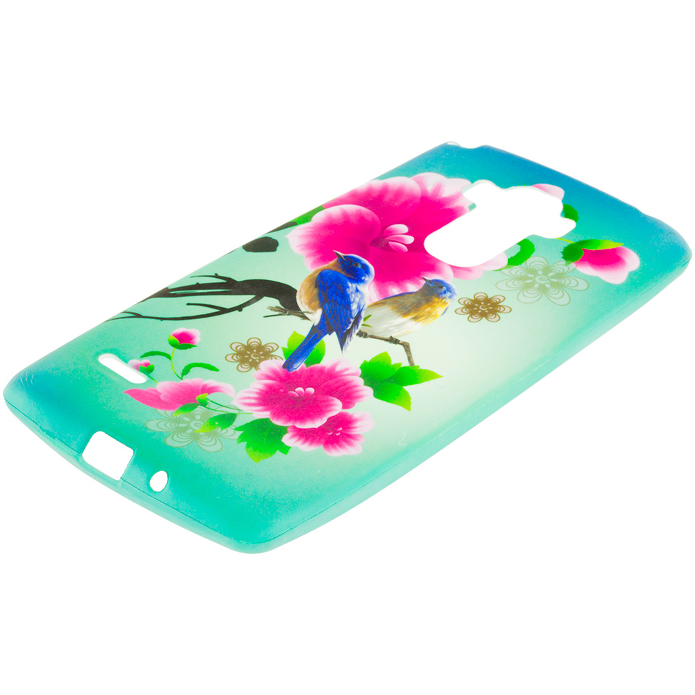 LG G Stylo Blue Bird Pink Flower TPU Design Soft Rubber Case Cover