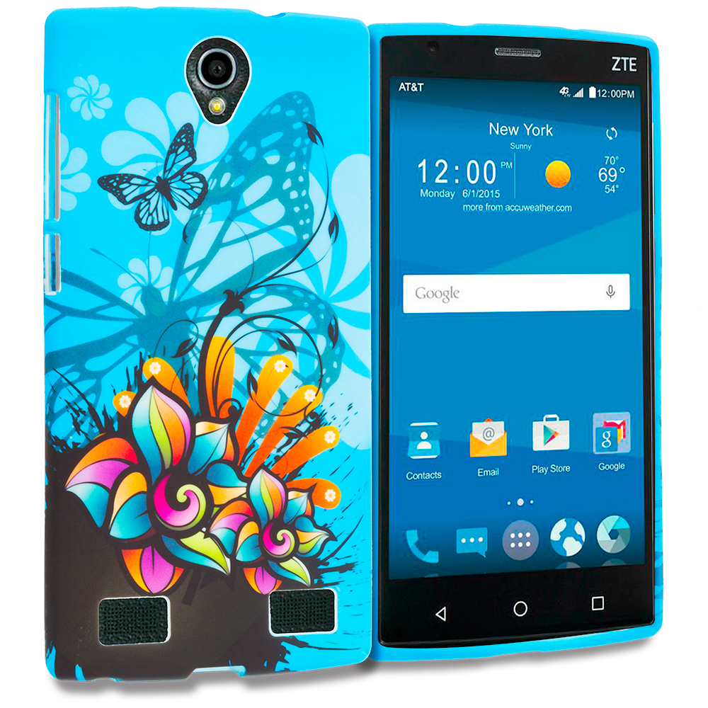 ZTE Zmax 2 Blue Butterfly Flower TPU Design Soft Rubber Case Cover