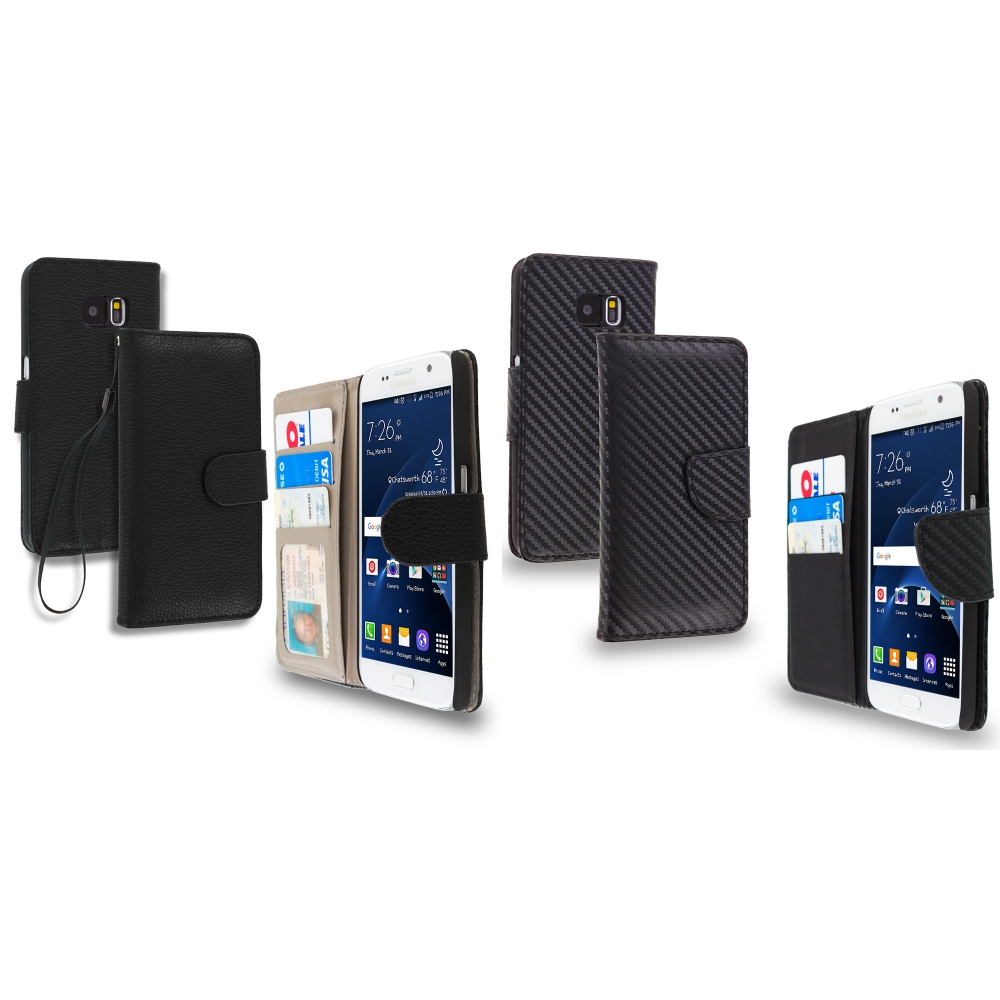 Samsung Galaxy S7 Combo Pack : Black Leather Wallet Pouch Case Cover with Slots