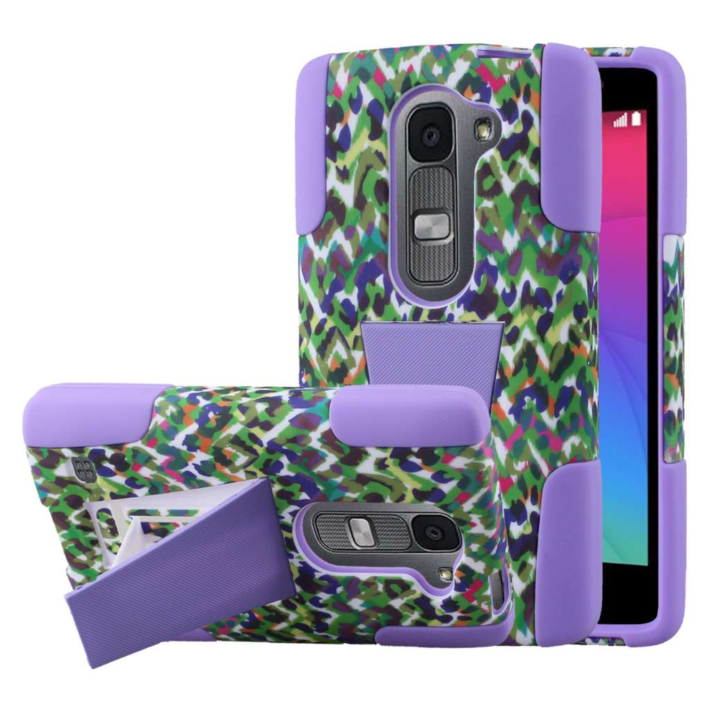 LG Leon - Purple Rainbow Leopard MPERO IMPACT X - Kickstand Case Cover