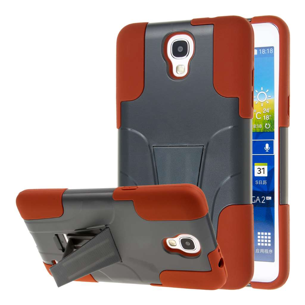 Samsung Galaxy Mega 2 - Coral / Mint Combo Pack : MPERO IMPACT X - Kickstand Case Cover : Color Sandstone / Gray