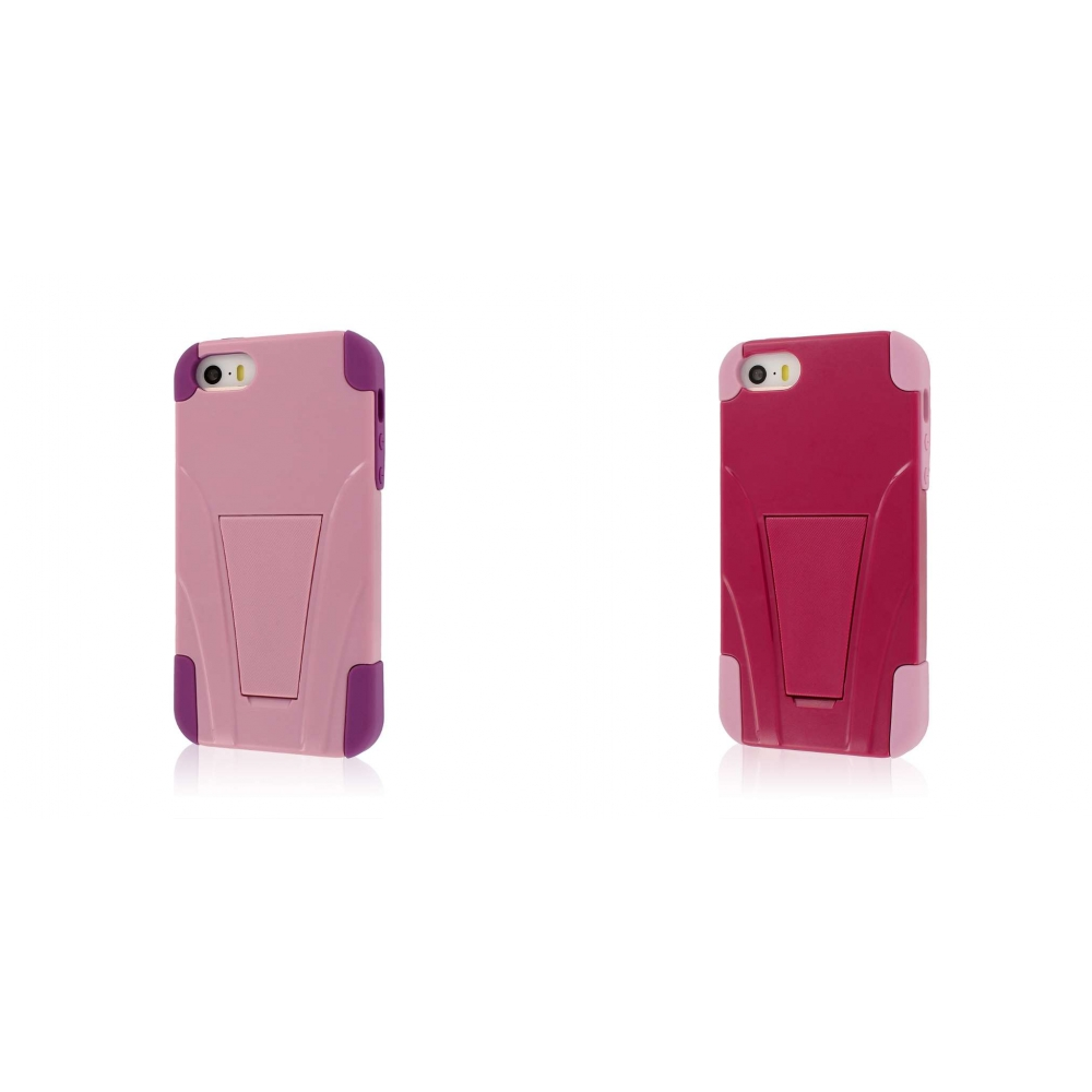 Apple iPhone 5/5S/SE - Pink Combo Pack : MPERO IMPACT X - Kickstand Case Cover