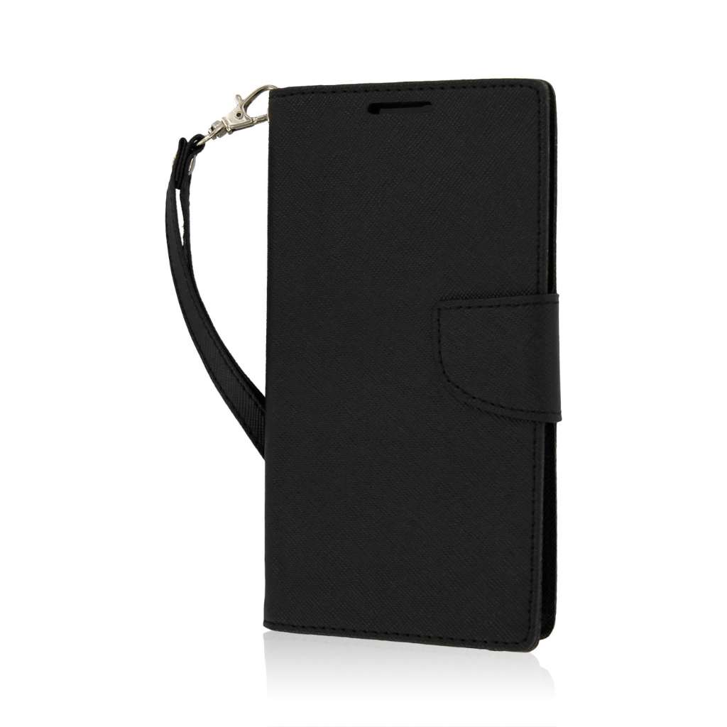 LG G Vista - Black MPERO FLEX FLIP 2 Wallet Stand Case Cover