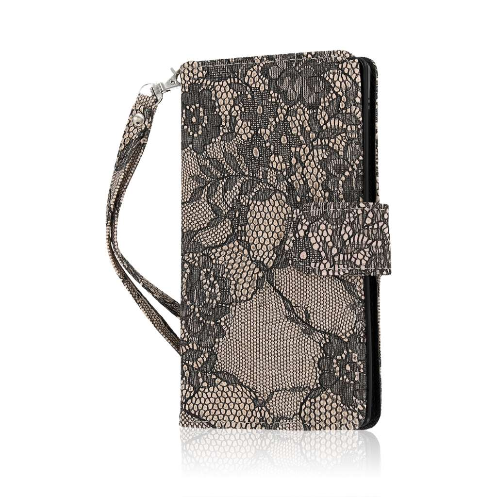 OnePlus One - Black Lace MPERO FLEX FLIP Wallet Case Cover
