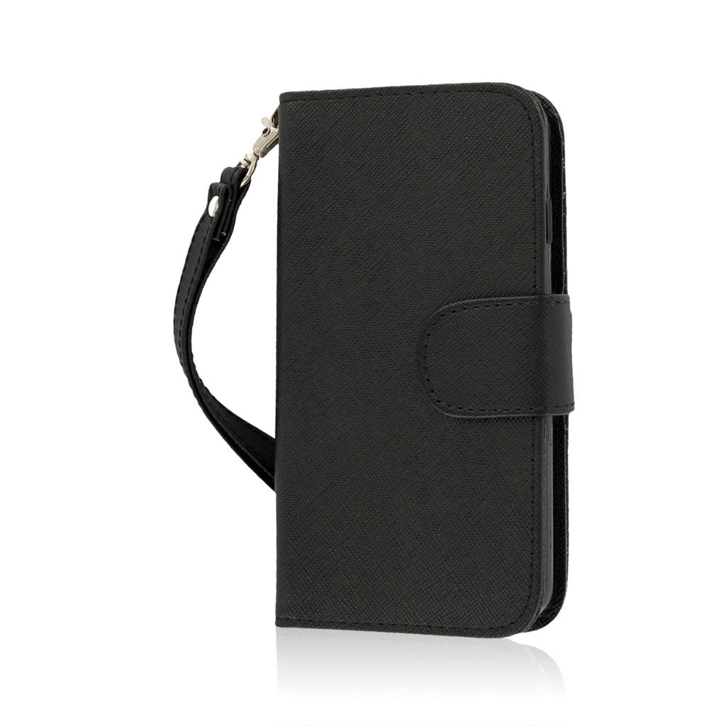 LG Lucid 3 - Black MPERO FLEX FLIP Wallet Case Cover
