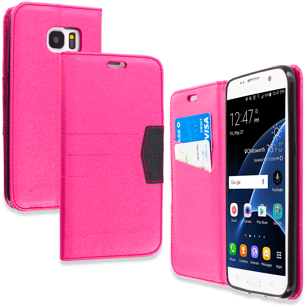 Samsung Galaxy S7 Edge Hot Pink Wallet Flip Leather Pouch Case Cover with ID Card Slots