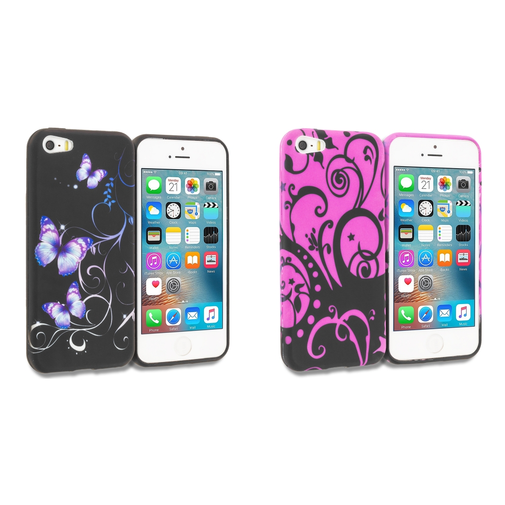 Apple iPhone 5 Combo Pack : Black Purple Butterfly TPU Design Soft Rubber Case Cover