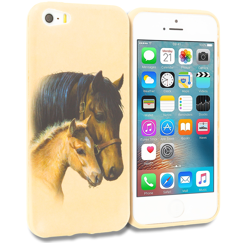 Apple iPhone 5/5S/SE Combo Pack : Horse TPU Design Soft Rubber Case Cover : Color Horse