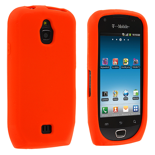 Samsung Exhibit 4G T759 Orange Silicone Soft Skin Case Cover
