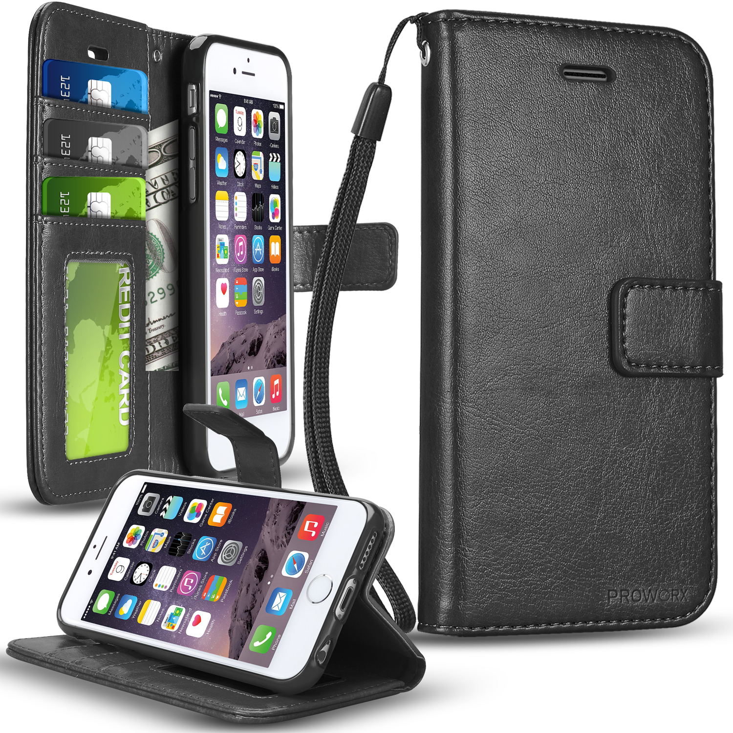 Apple iPhone 6 6S (4.7) Black ProWorx Wallet Case Luxury PU Leather Case Cover With Card Slots & Stand