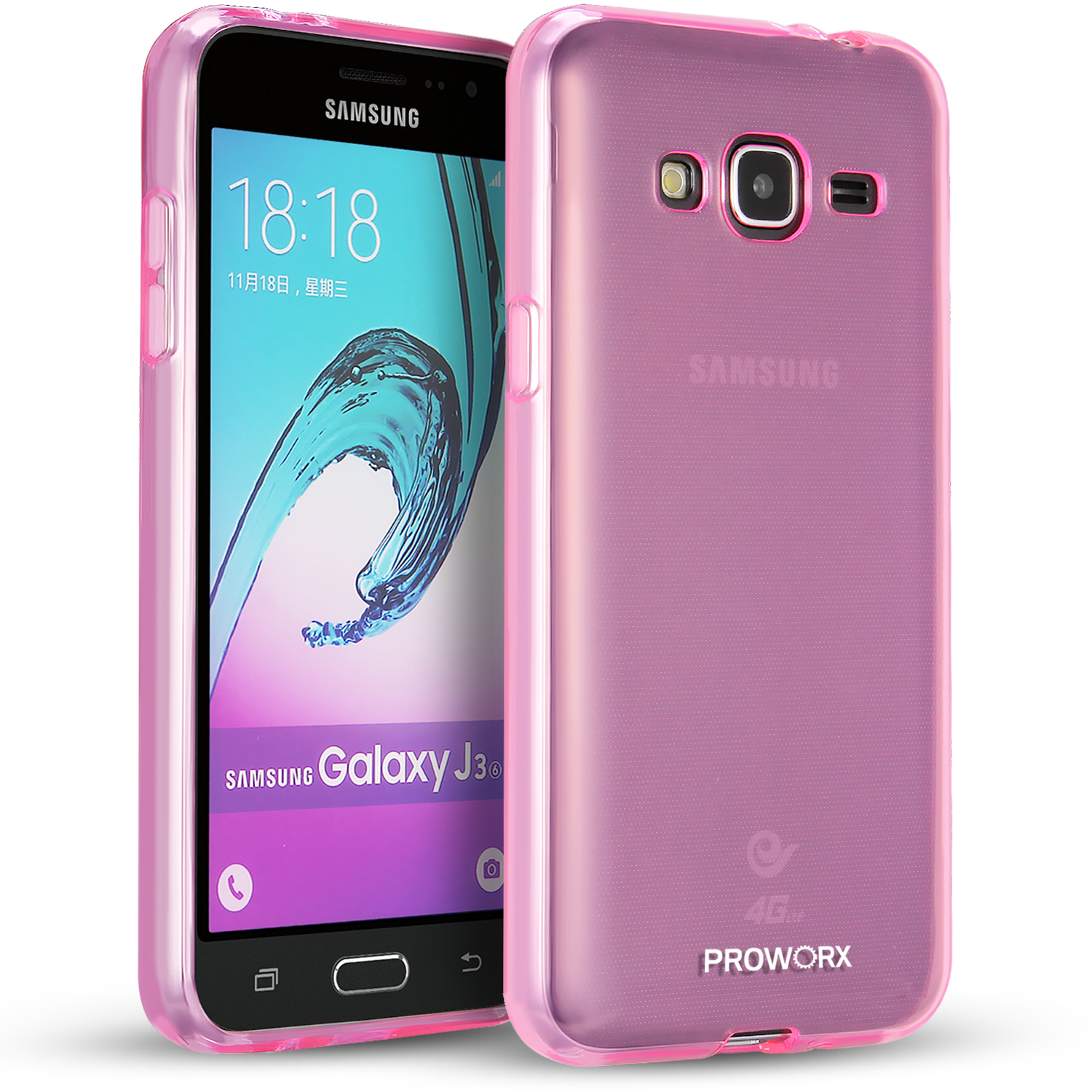 Samsung Galaxy J3 Hot Pink ProWorx Ultra Slim Thin Scratch Resistant TPU Silicone Case Cover