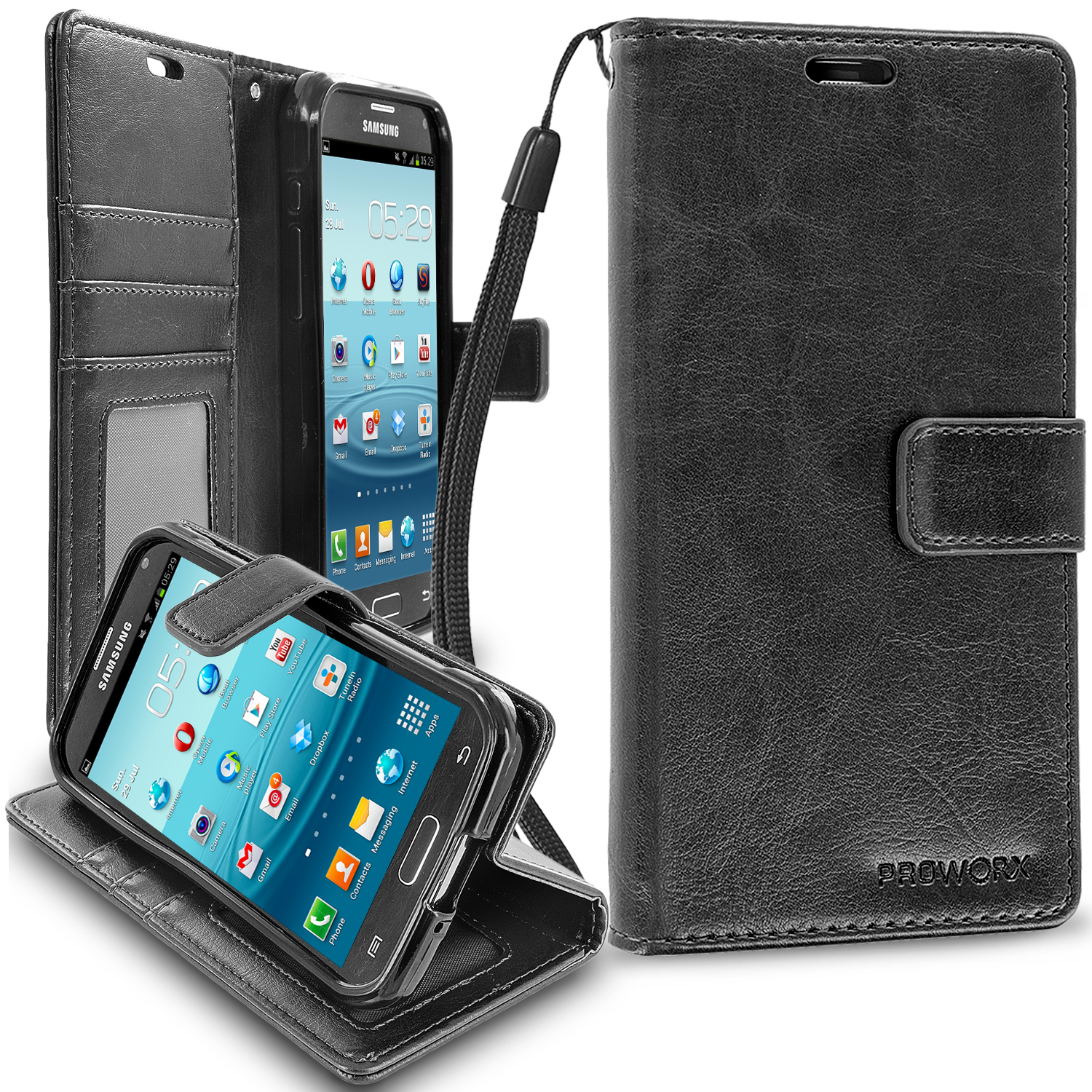 Samsung Galaxy S5 Active Black ProWorx Wallet Case Luxury PU Leather Case Cover With Card Slots & Stand