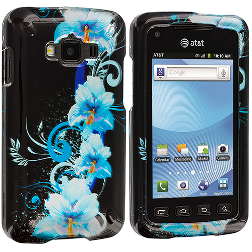Samsung Rugby Smart i847 Blue Flowers Design Crystal Hard Case Cover