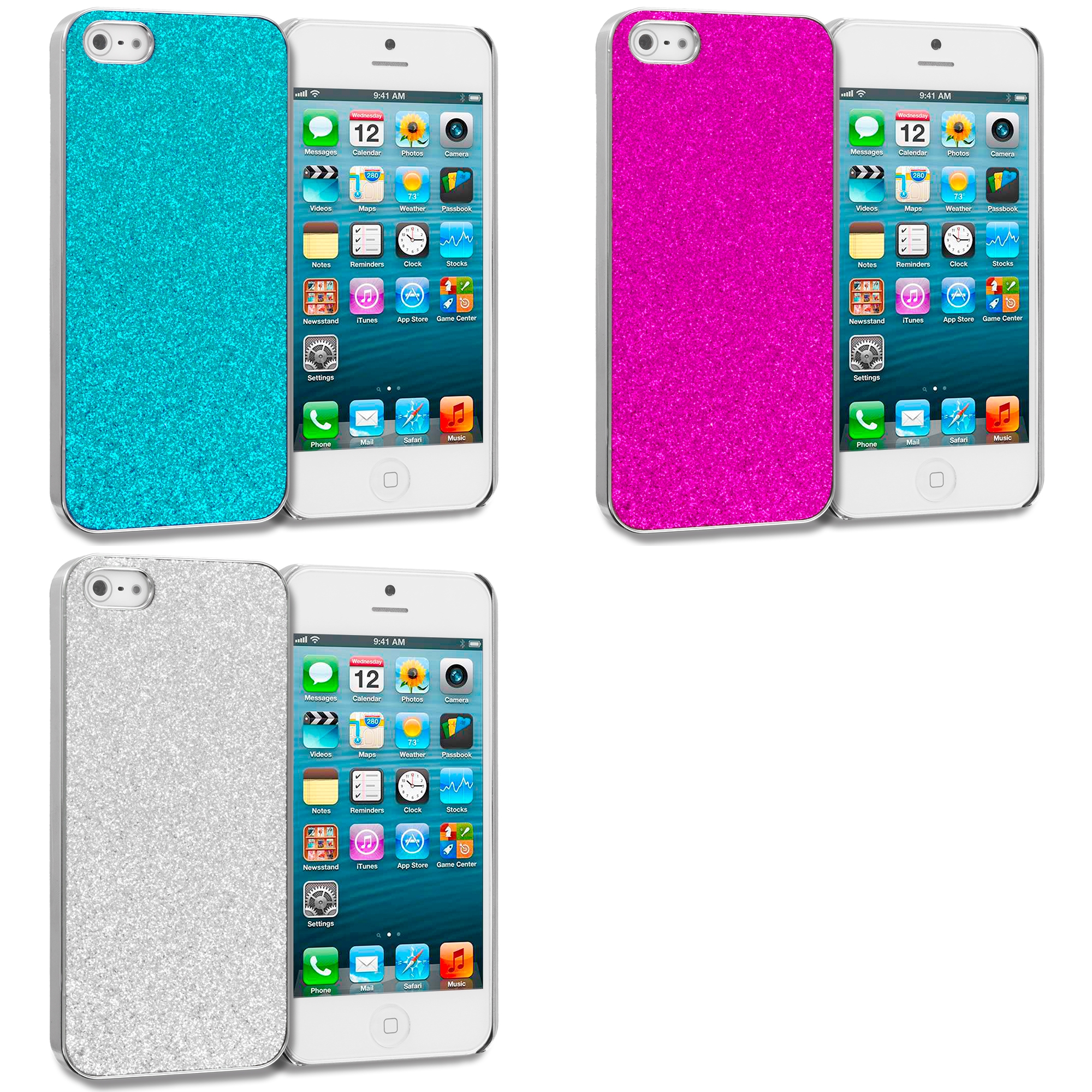 Apple iPhone 5/5S/SE Combo Pack : Baby Blue Glitter Case Cover