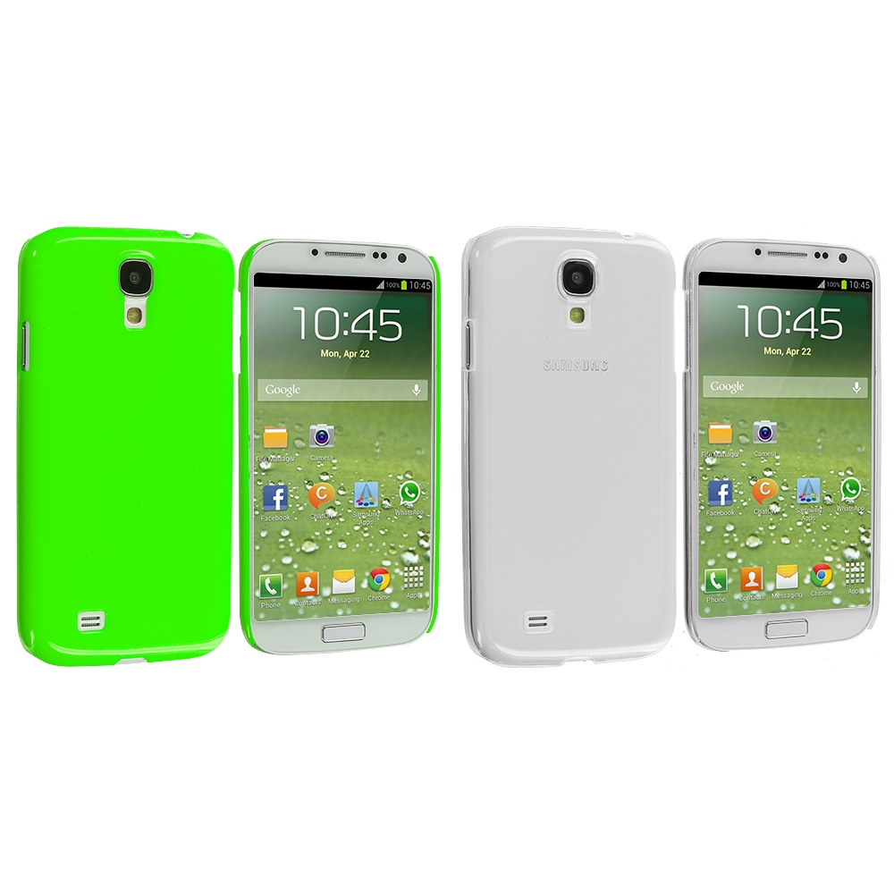 Samsung Galaxy S4 2 in 1 Combo Bundle Pack - Clear Green Crystal Hard Back Cover Case