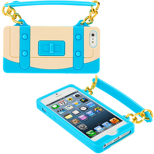 Apple iPhone 5/5S/SE Combo Pack : Baby Blue Handbag Silicone Design Soft Skin Case Cover : Color Baby Blue Handbag