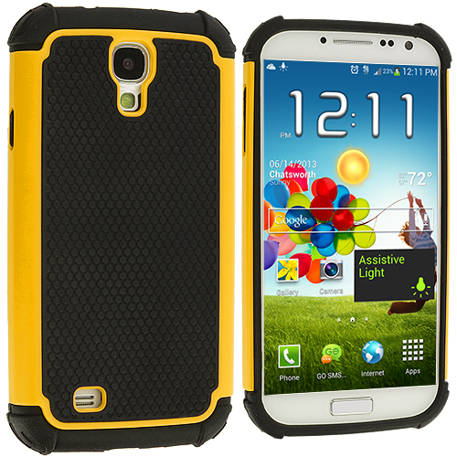 Samsung Galaxy S4 Yellow Hybrid Rugged Hard/Soft Case Cover