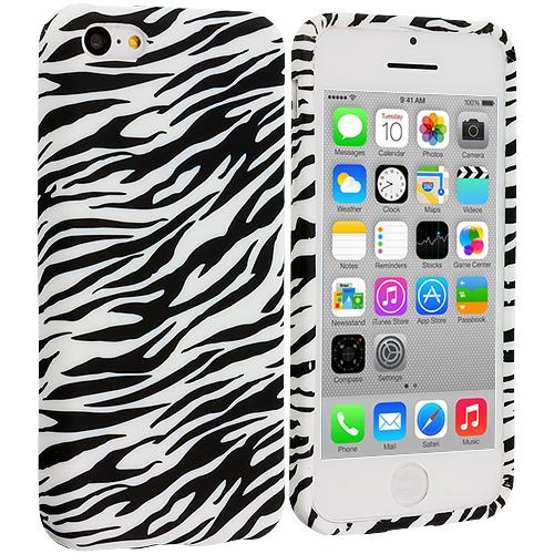 Apple iPhone 5C Black White Zebra TPU Design Soft Case Cover