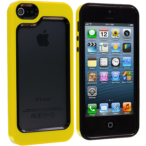 Apple iPhone 5 Combo Pack : Black / Neon Green Hybrid TPU Bumper Case Cover : Color Black / Yellow