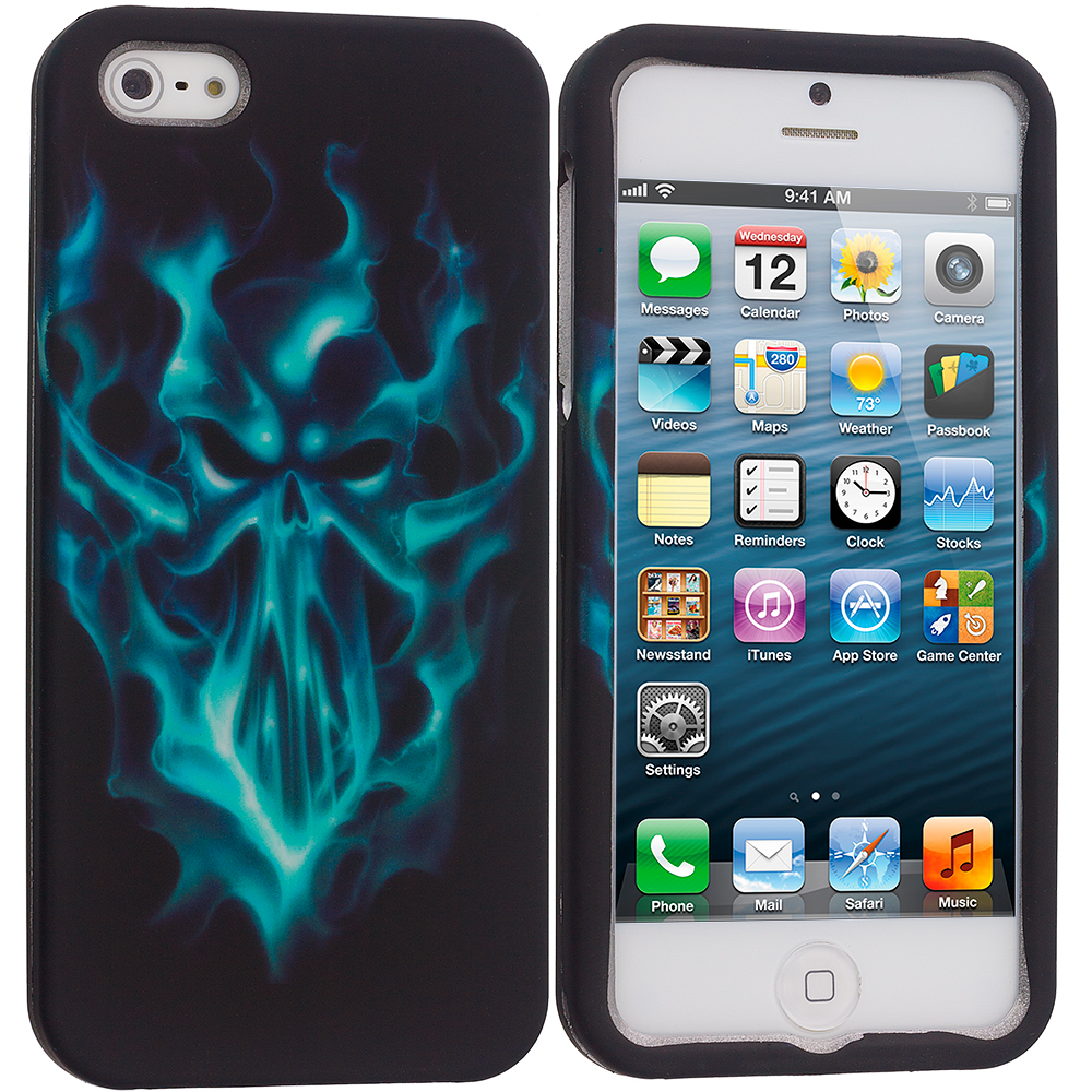 Apple iPhone 5/5S/SE 4 in 1 Combo Bundle Pack - Skulls Hard Rubberized Design Case Cover : Color Blue Skull Face