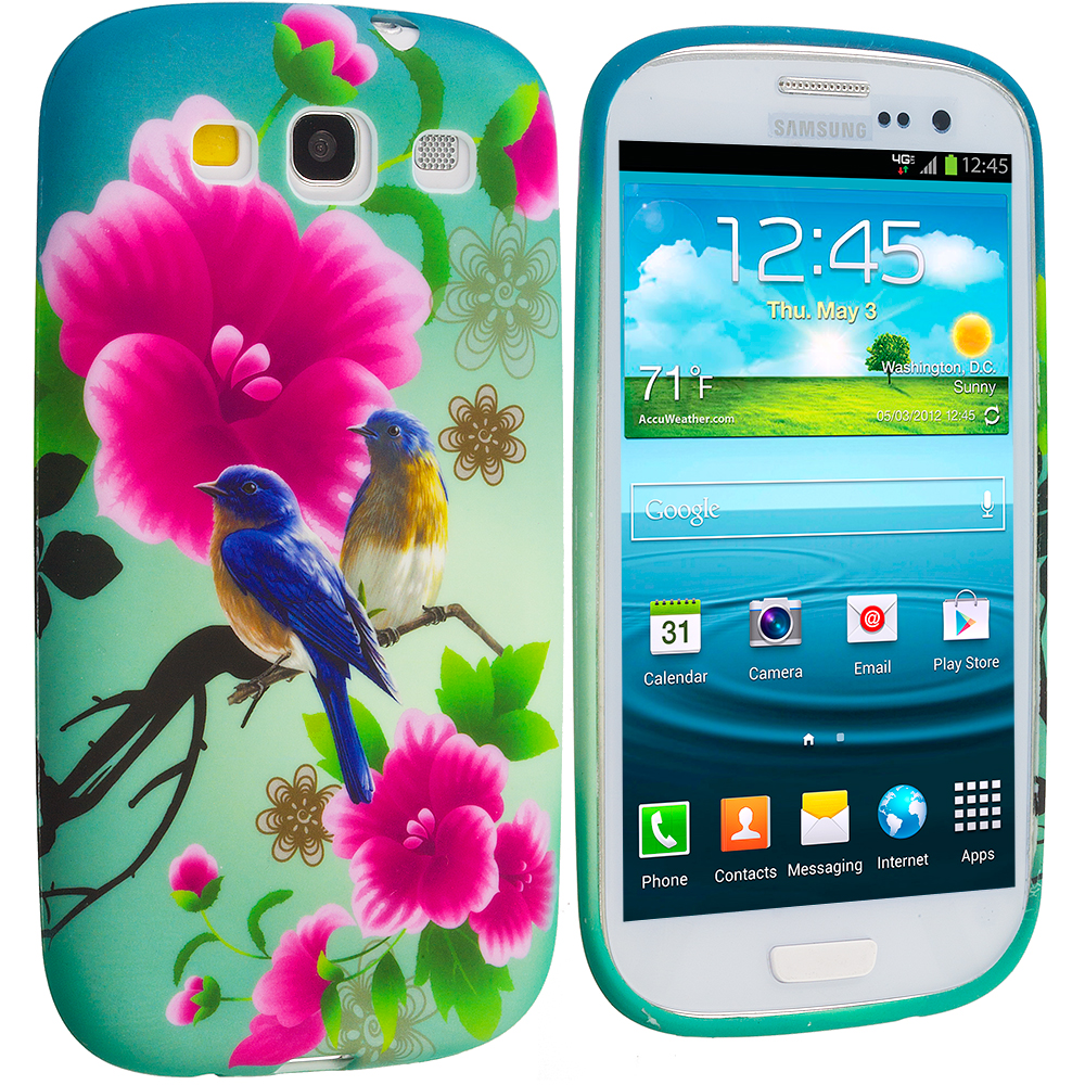 Samsung Galaxy S3 Blue Bird Pink Flower TPU Design Soft Case Cover